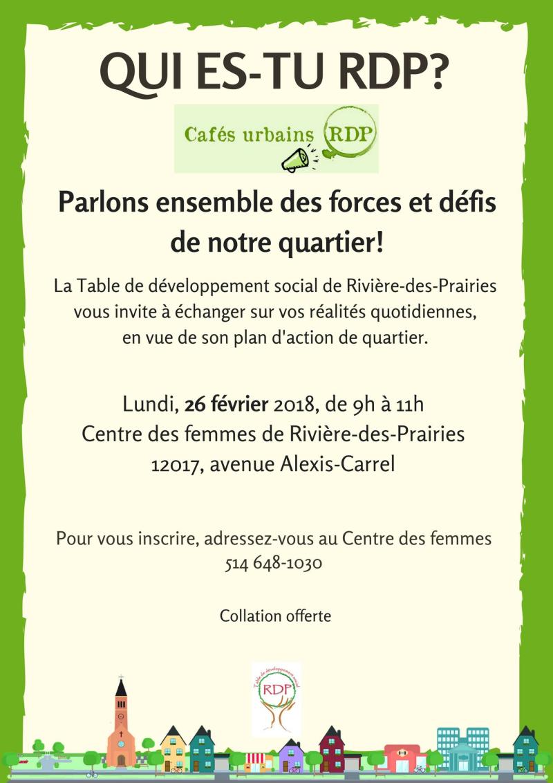 Café urbain du CDFRDP le 26 février