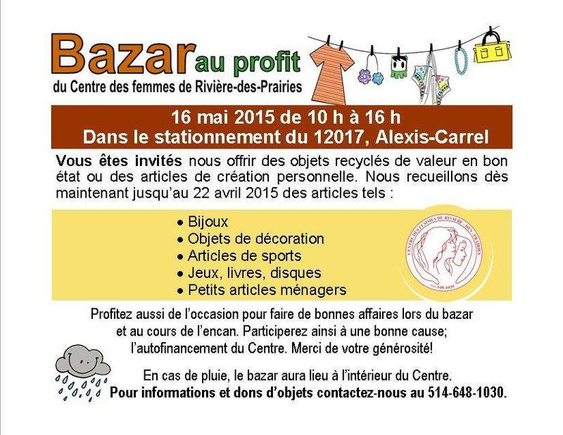 Bazar au profit du Centre des femmes de Rivière-des-Prairies